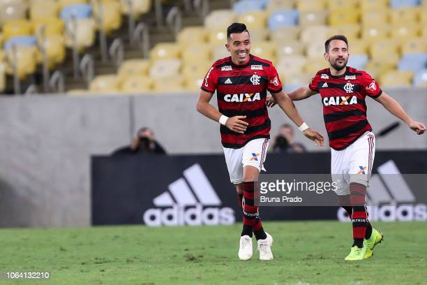 Fernando Uribe of Flamengo celebrates after scoring a the opening goal during a match between Flamengo and Gremio as part of Brasileirao Series A...