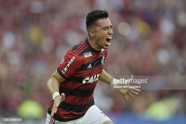Fernando Uribe of Flamengo celebrates their first scored goal during the match between Flamengo and Fluminense as part of Brasileirao Series A 2018...