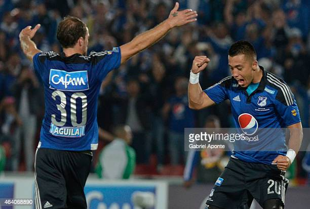 Fernando Uribe of Millonarios celebrates after scoring the second goal of his team during a match between Millonarios and Cortulua as part of fifth...