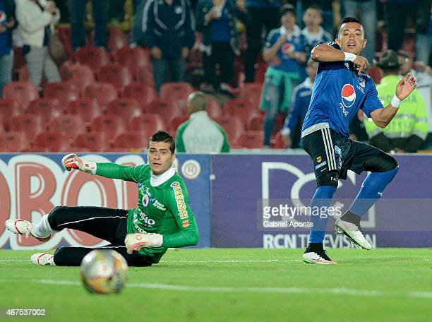 Fernando Uribe of Millonarios scores the second goal of his team during a match between Millonarios and Deportivo Pasto as part of Liga Aguila I 2015...
