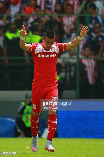 Fernando Uribe of Toluca celebrates after scoring the first goal of his team during a 5th round match between Toluca and Chivas as part of the...
