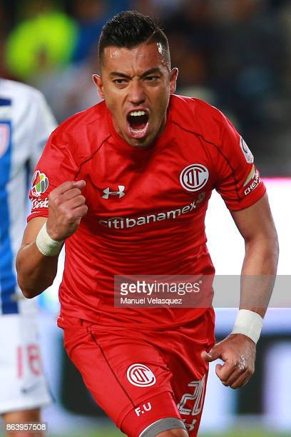 Fernando Uribe of Toluca celebrates after scoring the first goal of his team during the 10th round match between Pachuca and Toluca as part of the...