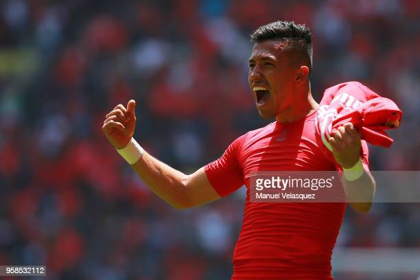 Fernando Uribe of Toluca celebrates after scoring the first goal of his team during the semifinals second leg match between Toluca and Tijuana as...