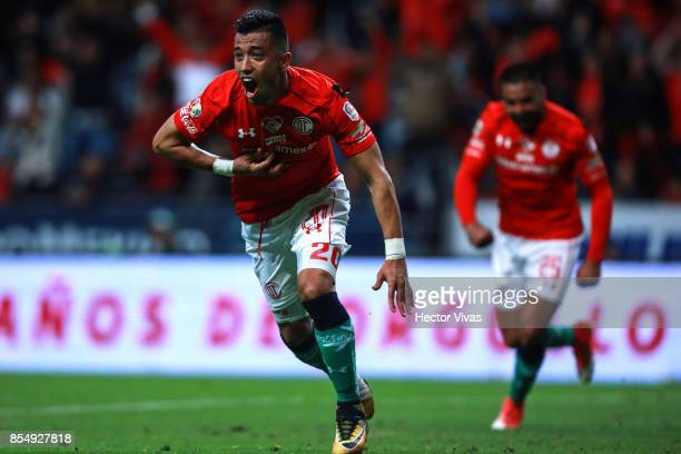 Fernando Uribe of Toluca celebrates after scoring the second goal of his team during the 11th round match between Toluca and Pumas UNAM as part of...
