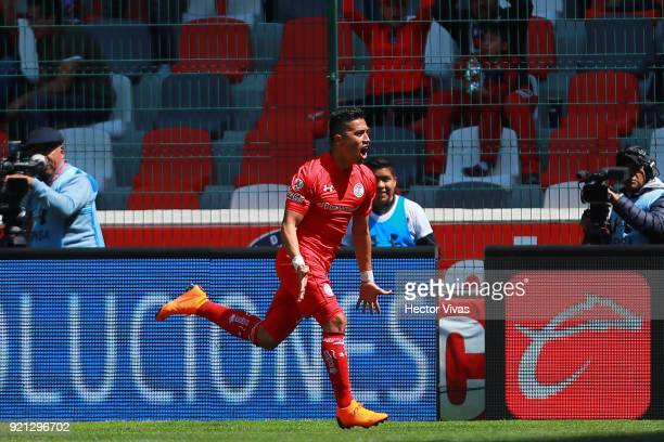 Fernando Uribe of Toluca celebrates after scoring the second goal of his team during the 8th round match between Toluca and Santos Laguna as part of...