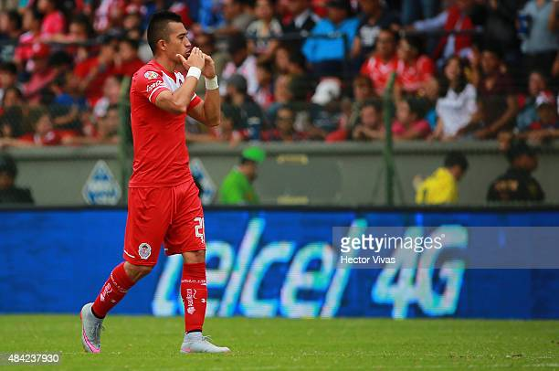 Fernando Uribe of Toluca celebrates after scoring the third goal of his team during a 5th round match between Toluca and Chivas as part of the...