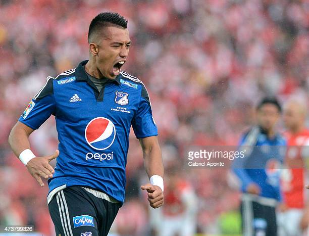 Fernando Uribe player Millonarios celebrates after scoring the first goal of his team during a match between Independiente Santa Fe and Millonarios...