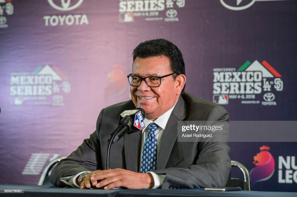 Fernando Valenzuela speaks during a press conference prior the MLB game between the San Diego Padres and the Los Angeles Dodgers at Estadio de Beisbol Monterrey on May 5, 2018 in Monterrey, Mexico.