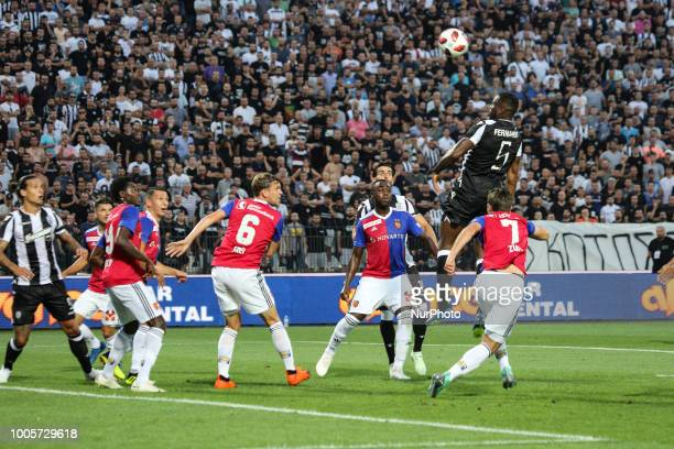 Fernando Varela of PAOK hit the ball during Champions League second qualifying round first leg football match between PAOK FC and FC Basel at the...