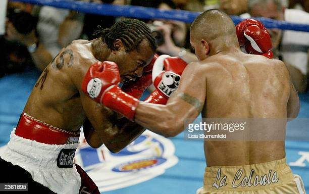 Fernando Vargas makes contact with Fitz Vanderpool on July 26 2003 at the Olympic Auditorium in Los Angeles California Fernando Vargas won by TKO in...