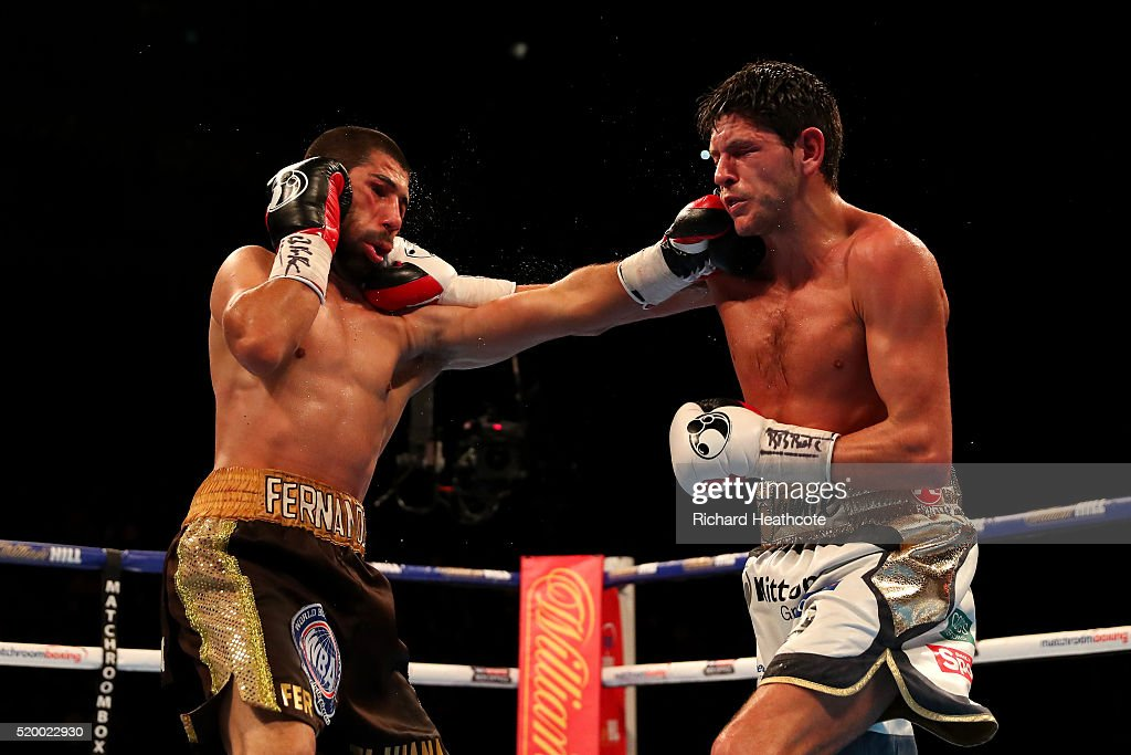 Fernando Vargas of Mexico and Jamie McDonnell of England land punches on each other during the WBA World Bantamweight title fight at The O2 Arena on April 9, 2016 in London, England.