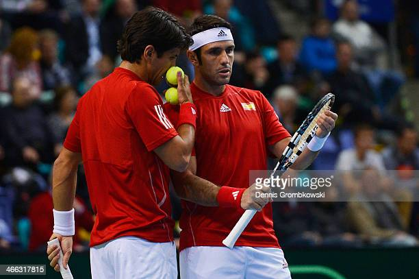 Fernando Verdasco and David Marrero of Spain react during their Double match against Tommy Haas and Philipp Kohlschreiber of Germany on Day 2 of the...