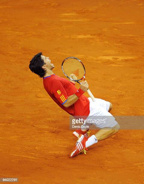 Fernando Verdasco and Feliciano Lopez of Spain celebrate after beating Radek Stepanek and Tomas Berdych of Czech Republic during the Davis Cup World...