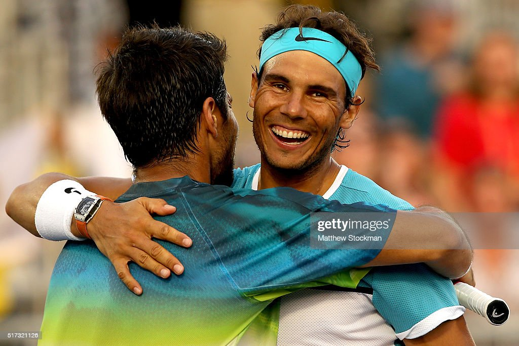 Fernando Verdasco and Rafael Nadal of Spain celebrate match point against Simone Bolelli and Andreas Seppi of Italy during the Miami Open presented by Itau at Crandon Park Tennis Center on March 24, 2016 in Key Biscayne, Florida.