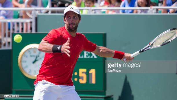 Fernando Verdasco from Spain in action against Thanasi Kokkinakis from Australia during his third round match at the Miami Open Verdasco defeated...