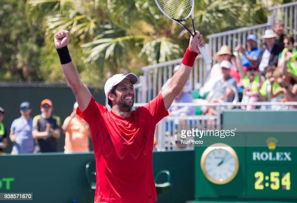 Fernando Verdasco from Spain reacts after defeating Thanasi Kokkinakis from Australia at the Miami Open Verdasco defeated Kokkinakis 36 64 76 in Key...