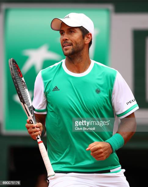 Fernando Verdasco of Spain ceebrates winning a point during the first round match against Alexander Zverev of Germany on day three of the 2017 French...