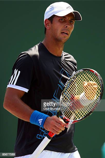 Fernando Verdasco of Spain celebbrates match point against Benjamin Becker of Germany during day six of the Sony Ericsson Open at the Crandon Park...