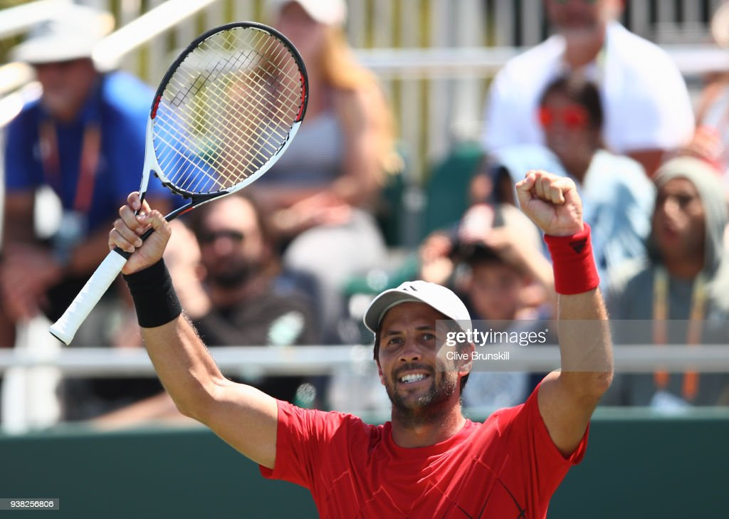 Fernando Verdasco of Spain celebrates a point against Thanasi Kokkinakis of Australia in their third round match during the Miami Open Presented by Itau at Crandon Park Tennis Center on March 26, 2018 in Key Biscayne, Florida.