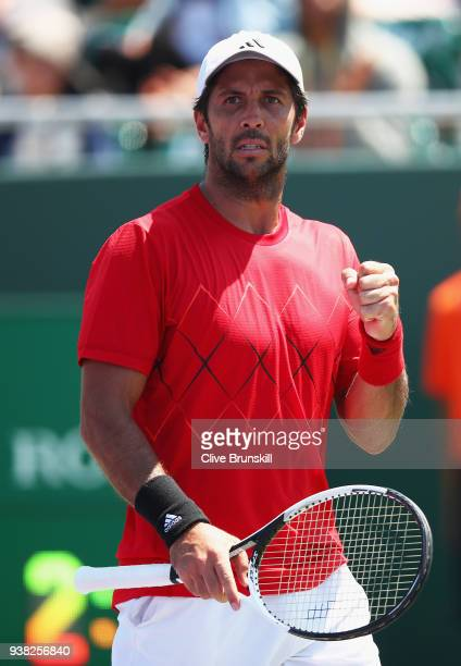 Fernando Verdasco of Spain celebrates a point against Thanasi Kokkinakis of Australia in their third round match during the Miami Open Presented by...