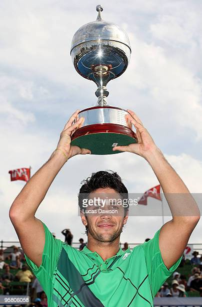 Fernando Verdasco of Spain celebrates after winning the final match against JoWilfried Tsonga of France during day four of the 2010 Kooyong Classic...