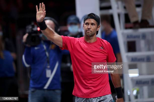 Fernando Verdasco of Spain celebrates after winning the match between Fernando Verdasco of Spain and Andy Murray of Great Britain two of the...