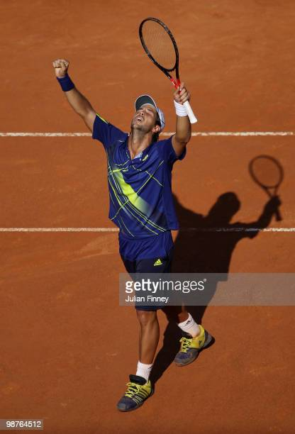 Fernando Verdasco of Spain celebrates defeating Novak Djokovic of Serbia during day six of the ATP Masters Series Rome at the Foro Italico Tennis...