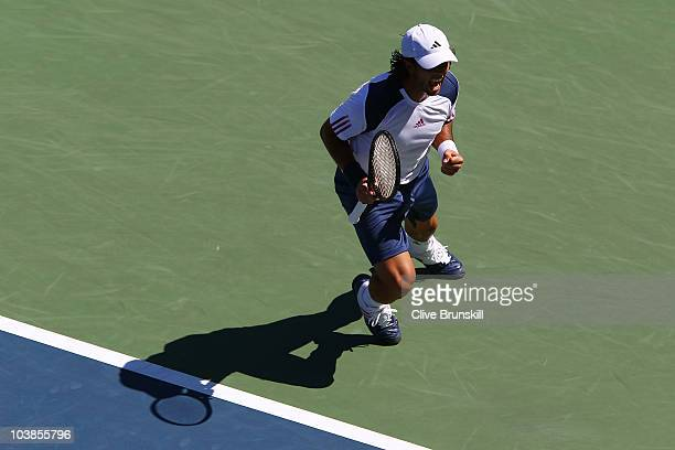 Fernando Verdasco of Spain celebrates match point against David Nalbandian of Argentina during the men's singles match on day seven of the 2010 U.S....