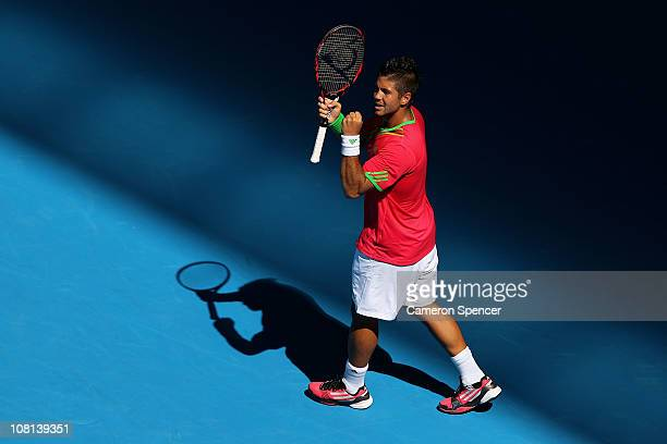 Fernando Verdasco of Spain celebrates match point during his second round match against Janko Tipsarevic of Serbia during day three of the 2011...