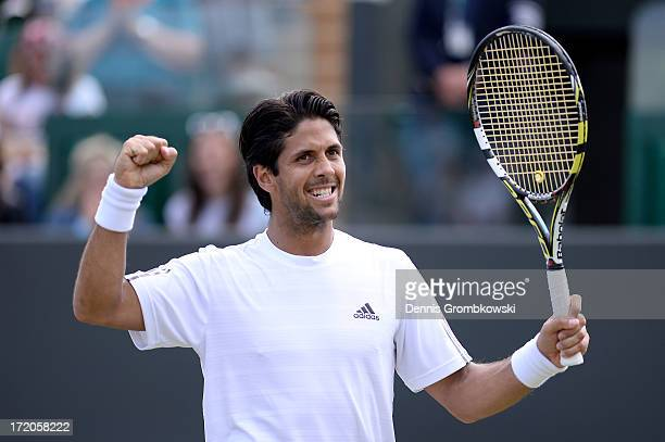 Fernando Verdasco of Spain celebrates match point during the Gentlemen's Singles fourth round match against Kenny de Schepper of France on day seven...