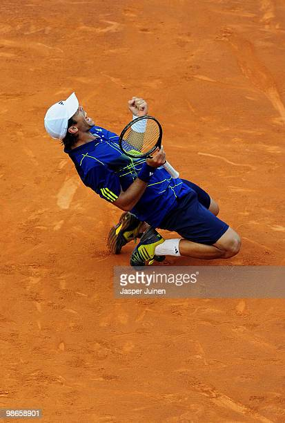 Fernando Verdasco of Spain celebrates match point over Robin Soderling of Sweden during the final match on day seven of the ATP 500 World Tour...