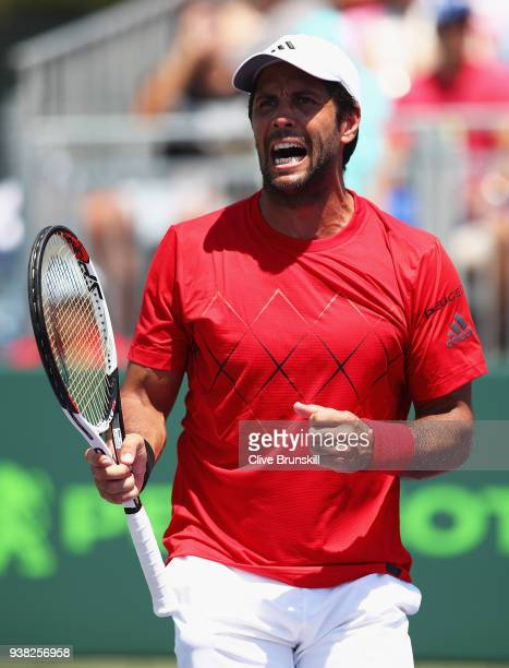Fernando Verdasco of Spain celebrates the point before match point against Thanasi Kokkinakis of Australia in their third round match during the...