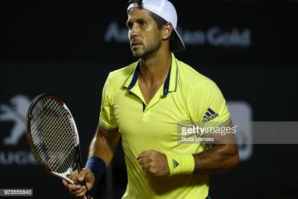 Fernando Verdasco of Spain celebrates the victory against Dominic Thiem of Austria during the quarter finals of the ATP Rio Open 2018 at Jockey Club...