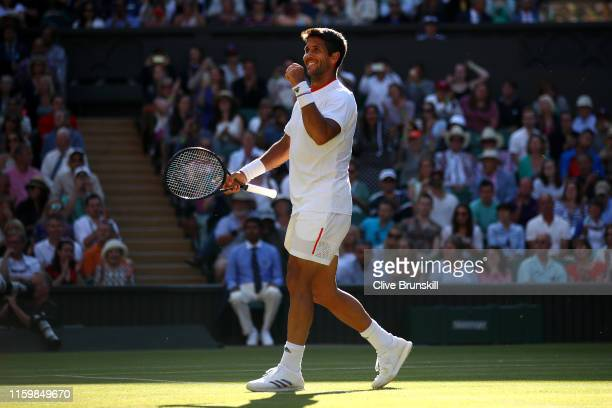 Fernando Verdasco of Spain celebrates victory in his Men's Singles second round match against Kyle Edmund of Great Britain during Day three of The...