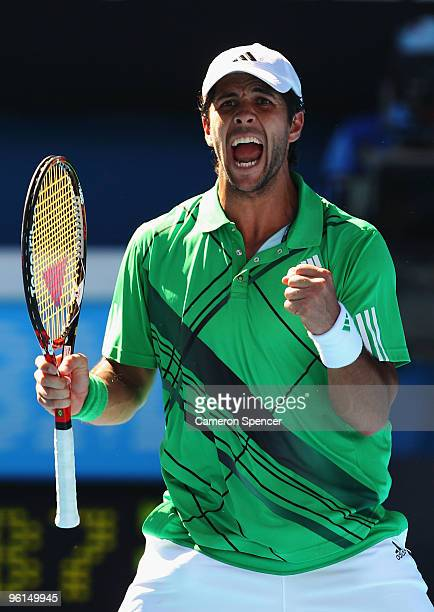 Fernando Verdasco of Spain celebrates winning the fourth set in his fourth round match against Nikolay Davydenko of Russia during day eight of the...