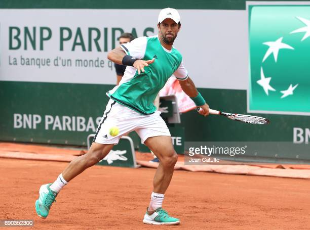 Fernando Verdasco of Spain during his first round match on day 3 of the 2017 French Open, second Grand Slam of the season at Roland Garros stadium on...