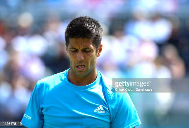 Fernando Verdasco of Spain during his mens singles first round match against Danil Medvedev of Russia on day one of the FeverTree Championships at...