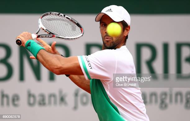Fernando Verdasco of Spain hits a backhand during the first round match against Alexander Zverev of Germany on day three of the 2017 French Open at...