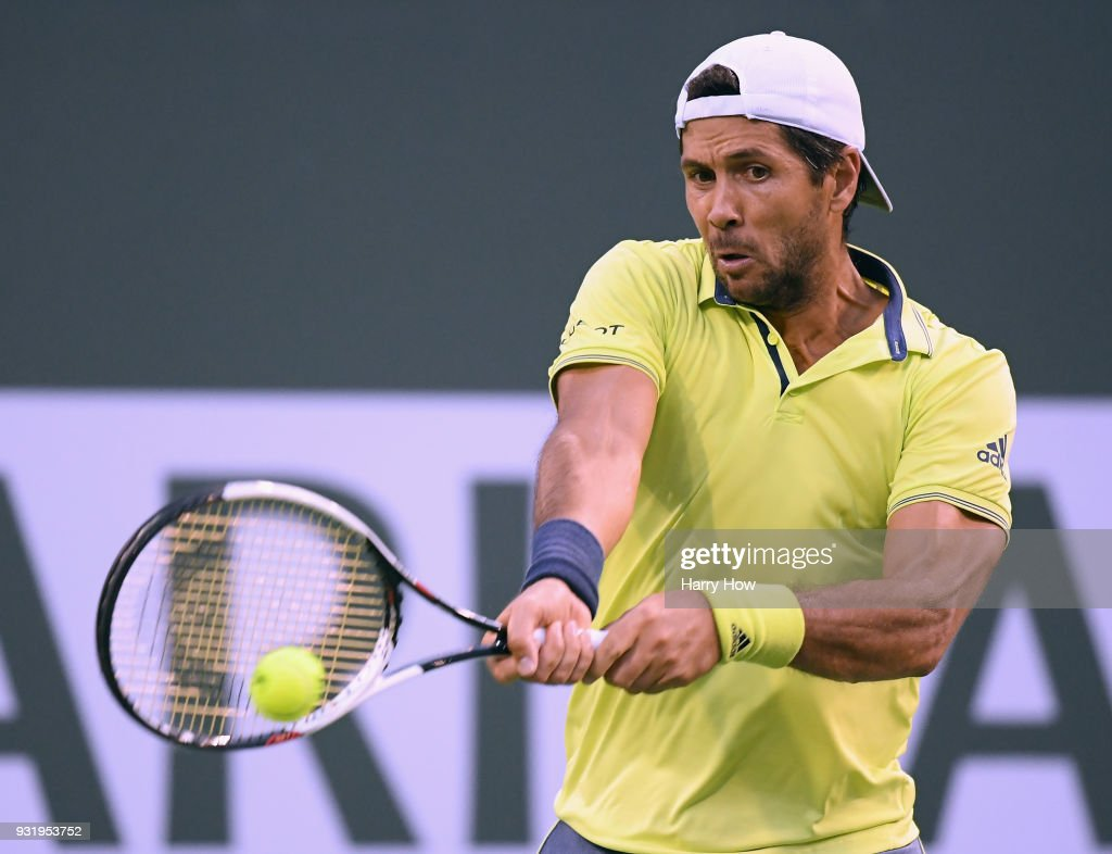 Fernando Verdasco of Spain hits a backhand in his match against Taylor Fritz of the United States during the BNP Paribas Open at the Indian Wells Tennis Garden on March 12, 2018 in Indian Wells, California.