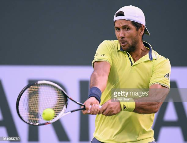Fernando Verdasco of Spain hits a backhand in his match against Taylor Fritz of the United States during the BNP Paribas Open at the Indian Wells...