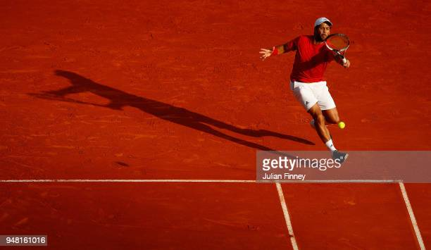 Fernando Verdasco of Spain hits a forehand return during his Mens Singles match against Marin Cilic of Croatia at MonteCarlo Sporting Club on April...