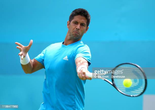 Fernando Verdasco of Spain hits a shot during his mens singles first round match against Danil Medvedev of Russia on day one of the FeverTree...