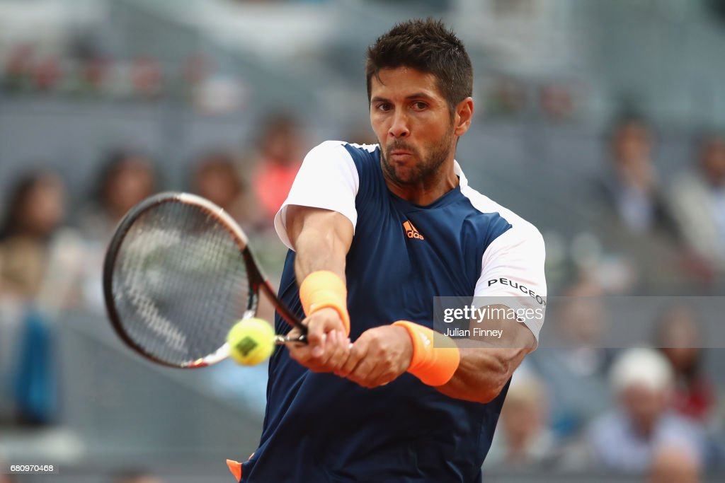 Fernando Verdasco of Spain in action against Alexander Zverev of Germany during day four of the Mutua Madrid Open tennis at La Caja Magica on May 9, 2017 in Madrid, Spain.