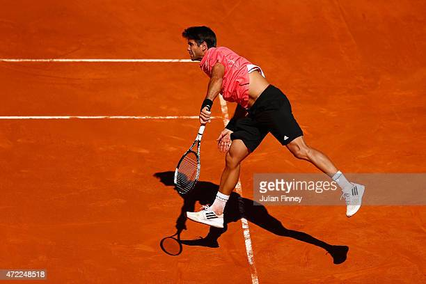 Fernando Verdasco of Spain in action against Guillermo GarciaLopez of Spain during day four of the Mutua Madrid Open tennis tournament at the Caja...