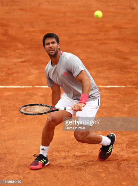 Fernando Verdasco of Spain in action against Kyle Edmund of Great Britain in their first round match during day two of the International BNL d'Italia...