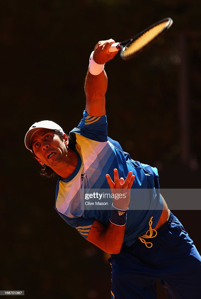 Fernando Verdasco of Spain in action during his first round match against Horacio Zeballos of Argentina during day three of the Internazionali BNL d'Italia 2013 at the Foro Italico Tennis Centre on May 14, 2013 in Rome, Italy.