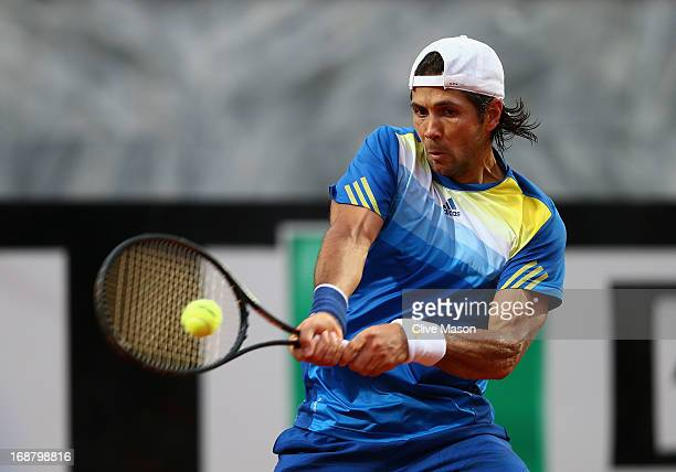Fernando Verdasco of Spain in action during his second round match against David Ferrer of Spain on day four of the Internazionali BNL d'Italia 2013...