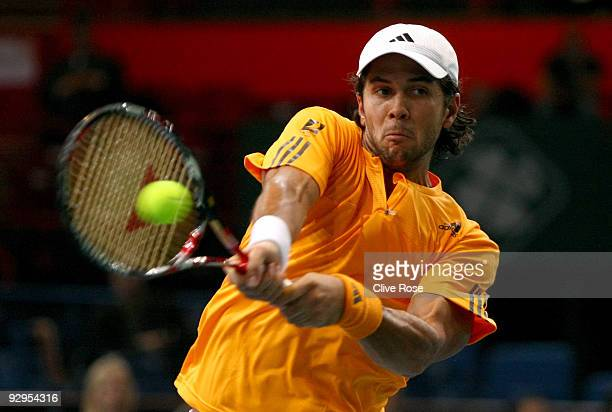 Fernando Verdasco of Spain in action during his second round match against Andreas Seppi of Italy during the ATP Masters Series at the Palais...