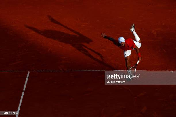 Fernando Verdasco of Spain in action return during his Mens Singles match against Marin Cilic of Croatia at MonteCarlo Sporting Club on April 18 2018...