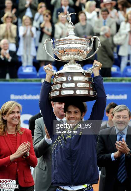 Fernando Verdasco of Spain lifts the winners trophy after winning the final match against Robin Soderling of Sweden on day seven of the ATP 500 World...